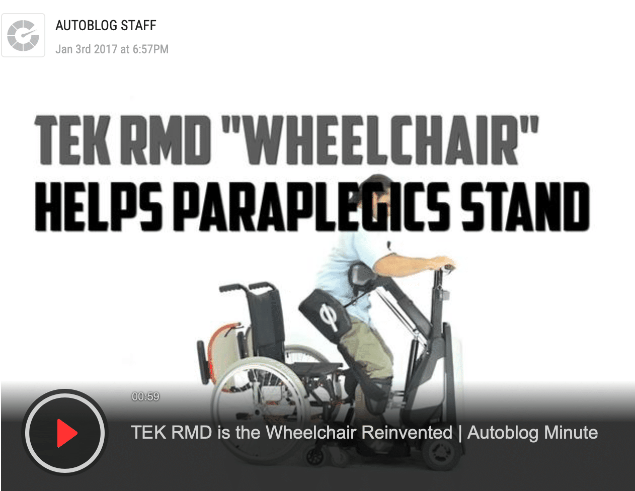 TEK RMD is the Wheelchair Reinvented | Autoblog Minute